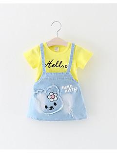 billige Babykjoler-Baby Pigens Kjole Daglig Polyester Kortærmet Sødt Hvid Lyserød Gul