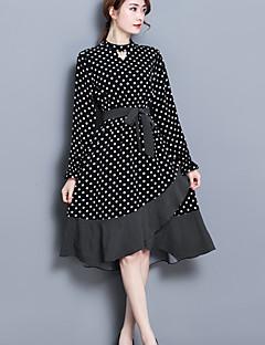 Χαμηλού Κόστους Polka Dot Dresses-Γυναικεία Δουλειά Μπόχο Γραμμή Α Θήκη Τρομπέτα/Γοργόνα Φόρεμα - Πουά Ασύμμετρο