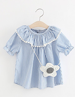 billige Babykjoler-Baby Pigens Kjole Daglig Polyester Kortærmet Simple Lyserød Lyseblå