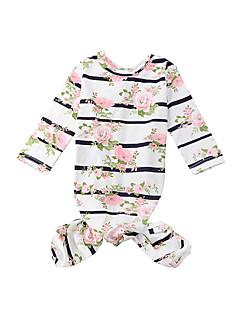 billige Sweaters og cardigans til piger-Unisex Nattøj Stribet Blomstret, Bomuld Alle årstider Langærmet Sødt Lyserød