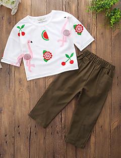 billige Tøjsæt til piger-Pige Tøjsæt Daglig I-byen-tøj Ensfarvet Geometrisk Trykt mønster, Bomuld Polyester Forår Sommer Kortærmet Simple Afslappet Army Grøn