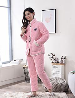 billige Moteundertøy-Dame Dress Pyjamas Tykk Kashmir Rosa Fuksia
