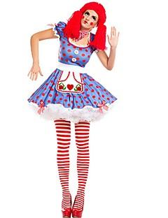 billige Halloweenkostymer-Burlesk/Klovn Sirkus Cosplay Kostumer Party-kostyme Dame Karneval Festival / høytid Halloween-kostymer Blå Fargeblokk Artig & Underspillet