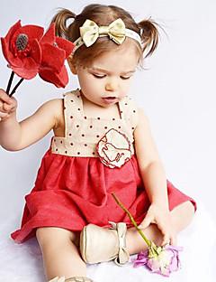 billige Babykjoler-Baby Pigens Kjole Daglig Ensfarvet, Uld Bomuld Bambus Fiber Forår Uden ærmer Simple Vintage Rød