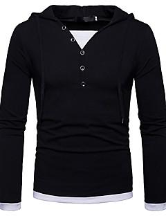 Miehet Pitkä hiha Hupullinen Polyesteri Kaikki vuodenajat Vapaa-aika Päivittäin T-paita,Color Block