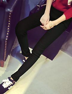 baratos Leggings para Mulheres-Mulheres Algodão Básico Legging - Listrado, Buraco / Estampado Cintura Média