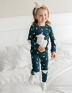 billige Undertøj og sokker til piger-Pige Nattøj Farveblok, Bomuld Langærmet Blå
