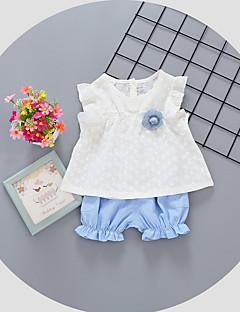 billige Sett med babyklær-Baby Pige Tøjsæt Daglig Prikker, Bomuld Sommer Uden ærmer Simple Blå Lyserød