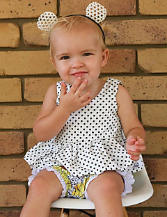 billige Babykjoler-Baby Pigens Kjole Daglig Ensfarvet Prikker, Uld Bomuld Hør Bambus Fiber Akryl Forår Uden ærmer Simple Vintage Hvid