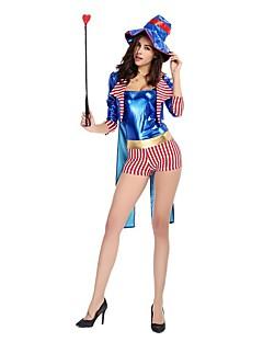 billige Halloweenkostymer-Sirkus / ringmaster Cosplay Kostumer / Party-kostyme Dame Halloween / Karneval Festival / høytid Halloween-kostymer Blå Fargeblokk Fest /