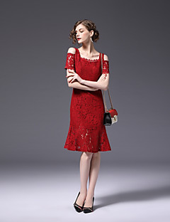 cheap FRMZ-FRMZ Women's Sophisticated Street chic Sheath Lace Dress - Solid Color Off Shoulder