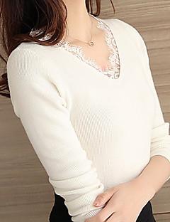 baratos Suéteres de Mulher-Mulheres Manga Longa Cashmere Longo Carregam - Sólido Cashmere
