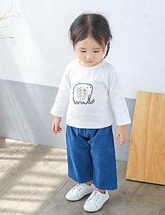 billige Babyoverdele-Baby Pige T-shirt Moderne Langærmet Normal Hvid Lyserød
