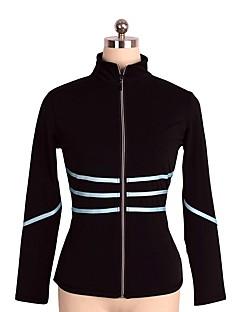 abordables Vestido de Patinaje Sobre Hielo-Chaqueta de lana para patinaje artístico Mujer Chica Patinaje Sobre Hielo Top Negro Licra Elástico Rendimiento Práctica Ropa de Patinaje