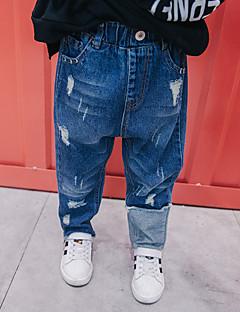 billige Jeans til drenge-Drenge Jeans Daglig Ensfarvet, Uld Bomuld Bambus Fiber Forår Simple Blå