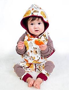 billige Tøjsæt til piger-Pige Tøjsæt Daglig Skole Trykt mønster Dyretryk, Bomuld Alle årstider Langærmet Sødt Afslappet Kakifarvet