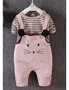 billige Sett med babyklær-Baby Pige Tøjsæt Daglig Stribet, Bomuld Alle årstider Langærmet Simple Lyserød