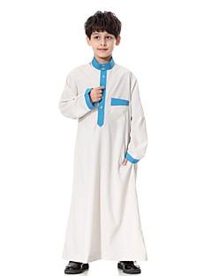 tanie Odzież dla chłopców-Dla chłopców Impreza Codzienny Jendolity kolor Garnitur / marynarka, 100% Polyester Długi rękaw Na co dzień Abaya White Beige Camel Navy