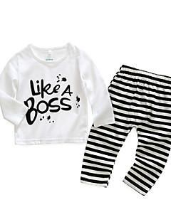 billige Sett med babyklær-Baby Pige Tøjsæt Daglig Stribet Bogstaver, Bomuld Forår Langærmet Simple Hvid