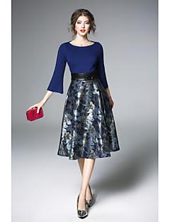 cheap Women's Dresses-Women's Sheath Dress - Jacquard, Pleated Boat Neck