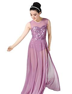 tanie Stroje baletowe-Sukienki Balet Taniec balowy Suknie Damskie Etap Spandeks Elastyczny Mesh Cekiny Bez rękawów Naturalny Ubierać Nakrycia głowy
