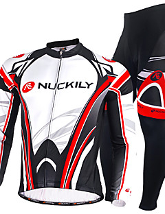 cheap Cycling Jersey & Shorts / Pants Sets-Nuckily Cycling Jersey with Tights Men's Long Sleeves Bike Clothing Suits Bottoms Thermal / Warm Anatomic Design Fleece Lining Insulated