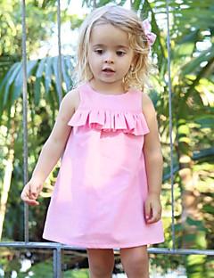 billige Babykjoler-Baby Pigens Kjole Daglig Ensfarvet, Uld Bomuld Hør Bambus Fiber Akryl Forår Uden ærmer Simple Vintage Lyserød