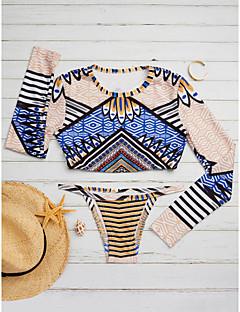 billige Bikinier og damemote 2017-Dame Trykt mønster Bikinikjole Badetøy Geometrisk Fargeblokk Bandeau Blå Brun Gul