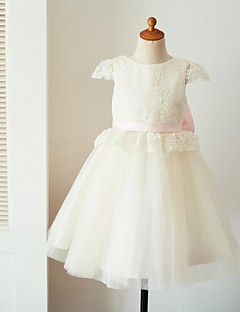cheap Flower Girl Dresses-Ball Gown Knee Length Flower Girl Dress - Lace Tulle Short Sleeves Jewel Neck with Appliques Bow(s) Sash / Ribbon by LAN TING Express
