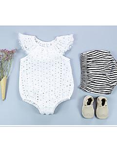 billige Babytøj-Baby Pige En del Daglig Ensfarvet, Bomuld Bambus Fiber Forår Uden ærmer Vintage Hvid