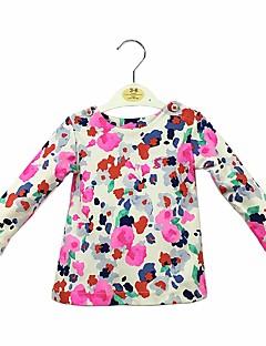 billige Babyoverdele-Baby Pige T-shirt Daglig Blomstret, Bomuld Langærmet Sødt Afslappet Regnbue