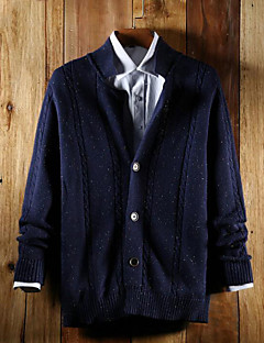 tanie Męskie swetry i swetry rozpinane-Męskie Kołnierzyk koszuli Rozpinany Solid Color