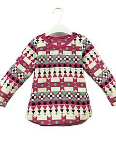 billige Hættetrøjer og sweatshirts til piger-Pige Hættetrøje og sweatshirt Farveblok, Bomuld Forår Efterår Langærmet Sødt Lilla