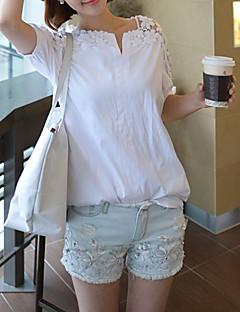 abordables Hauts pour Femme-Tee-shirt Femme, Couleur Pleine Décontracté Col de Chemise