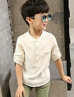 billige Gutteklær-Gutt Daglig Skjorte Ensfarget Bomull Vår Sommer Fritid Beige Lysegrønn
