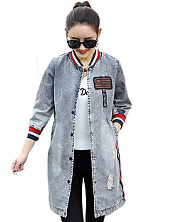 cheap -Women's Daily Simple Casual Winter Fall Long Denim Jacket Round Neck Others Print