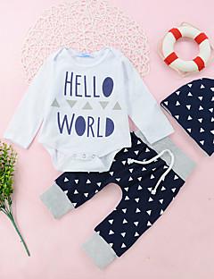 billige Sett med babyklær-Unisex Tøjsæt Daglig Ferie Geometrisk Trykt mønster Patchwork, Bomuld Forår Efterår Langærmet Afslappet Aktiv Hvid