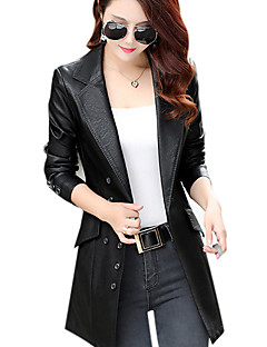 cheap -Women's Daily Street chic Winter Fall Long Leather Jacket, Solid Peter Pan Collar Others
