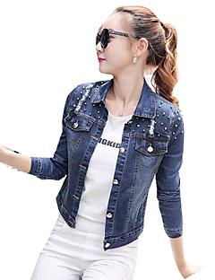 preiswerte Damen Jeansjacken-Damen Solide Jeansjacke, Hemdkragen