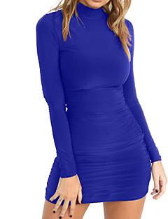 Χαμηλού Κόστους Ειδικές Προσφορές-Γυναικεία Εξόδου Βασικό Κομψό στυλ street Εφαρμοστό Θήκη Φόρεμα - Συμπαγές Χρώμα Μίνι Στρογγυλή Ψηλή Λαιμόκοψη Μπλε