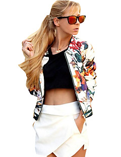cheap Women's Blazers & Jackets-Women's Daily Weekend Street chic Spring/Fall Regular Jacket, Floral Print Round Neck Roman Knit