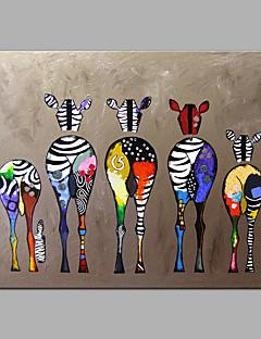 ราคาถูก บ้าน & สวน-มือวาดผ้าใบภาพสีน้ำมันสัตว์ที่มีสีสันม้าลายศิลปะสมัยใหม่ไม่มีกรอบ