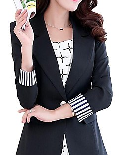 cheap -Women's Daily Simple Casual Spring Regular Blazer, Solid Notch Lapel Polyester