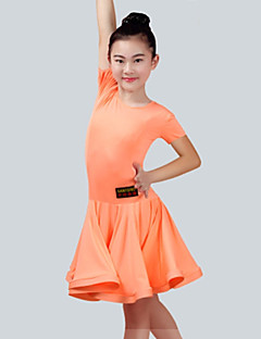 cheap Kids' Dancewear-Latin Dance Dresses Girls' Performance Spandex Ruching Short Sleeves Dress