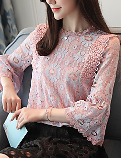 cheap Women's Tops-Women's Work Flare Sleeve Polyester Blouse - Solid, Lace Bow