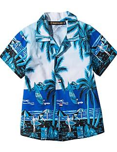 tanie Odzież dla dziewczynek-Koszula Bawełna Dla obu płci Codzienny Sport Kwiaty Lato Krótki rękaw Prosty Niebieski Yellow