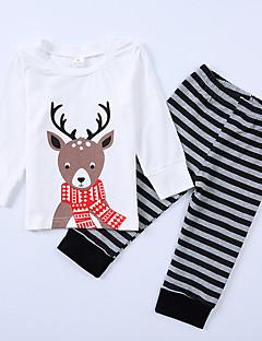 billige Tøjsæt til drenge-Unisex Tøjsæt Skole I-byen-tøj Stribet Dyretryk, Bomuld Forår Efterår Langærmet Sødt Afslappet Hvid