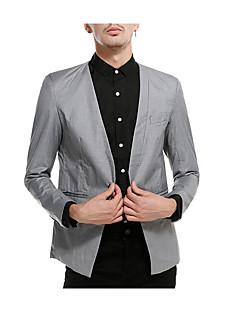 billige Herremote og klær-Polyester Normal Overstørrelse V-hals Blazer Ensfarget Vår Enkel Daglig Herre
