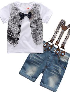 billige Tøjsæt til drenge-Drenge Tøjsæt Daglig Sport I-byen-tøj Ferie Skole Ensfarvet Galakse Trykt mønster, Bomuld Akryl Kort Ærme Simple Vintage Sødt Afslappet