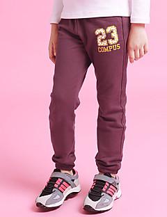 billige Bukser og leggings til piger-Pige Bukser Daglig Ensfarvet, Bomuld Hør Bambus Fiber Akryl Forår Uden ærmer Simple Grå Vin